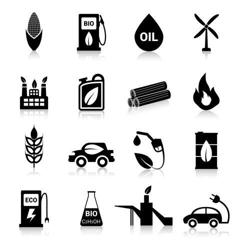 Icone di carburante bio nero vettore
