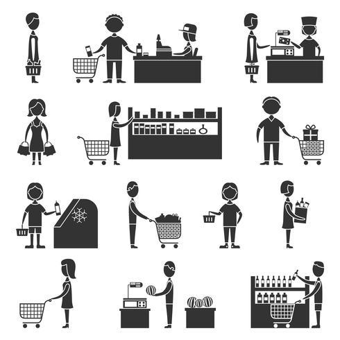 Set di persone del supermercato vettore