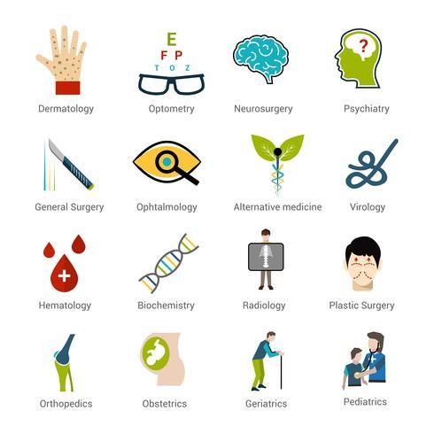 Set di specialità mediche vettore