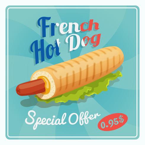 Poster di hot dog francese vettore