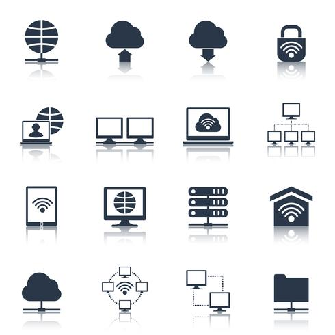 Icone di rete nere vettore