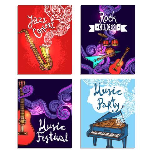 Set di mini poster musicali vettore