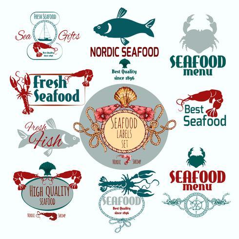 Etichetta di frutti di mare vettore