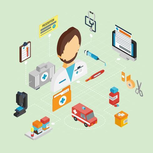 set isometrico medico vettore