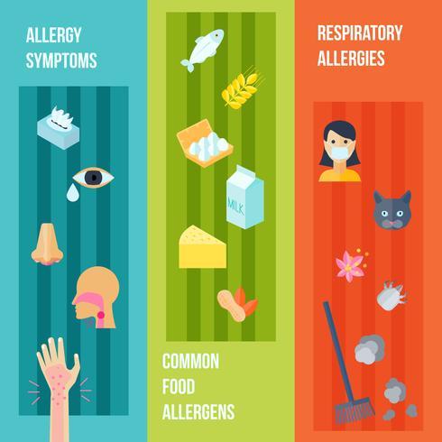 Set di banner di allergia vettore