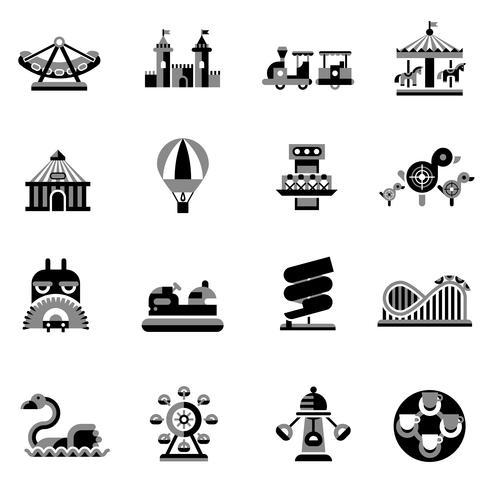 Icone di divertimento nere vettore