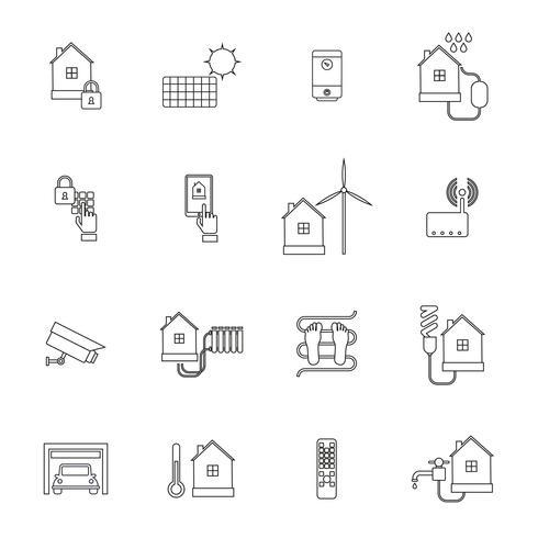 contorno di icona casa intelligente vettore