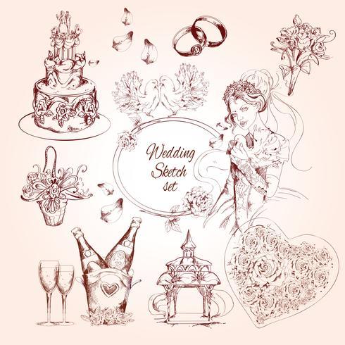 Set di schizzo di nozze vettore