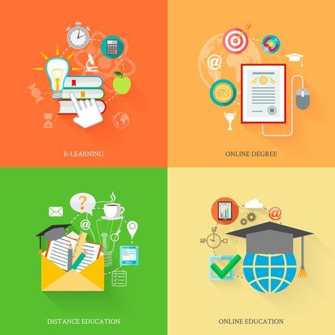 Icone di formazione online vettore