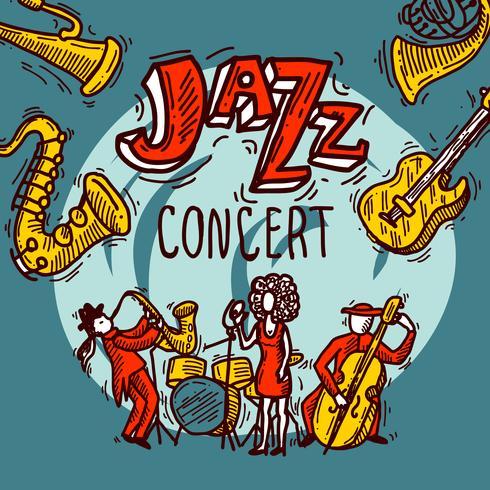 Poster di schizzo jazz vettore