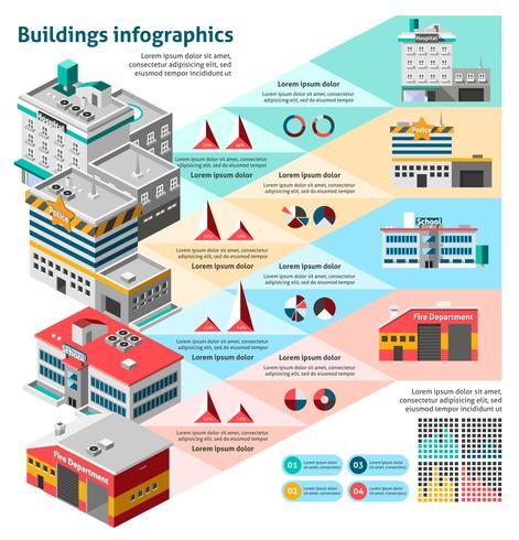 Insieme di infographics di edifici vettore
