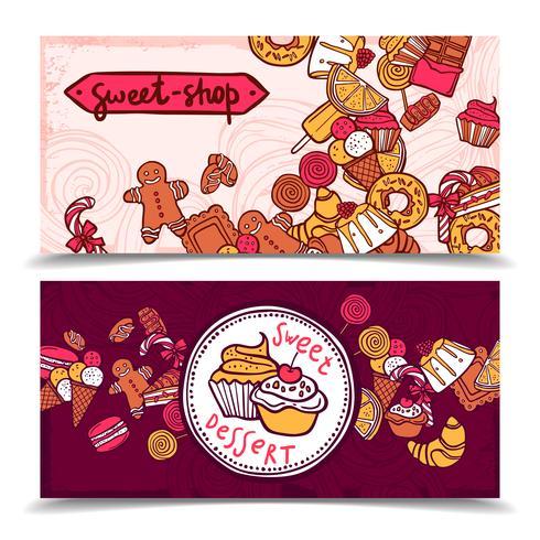 Set di banner vintage caramelle Sweetshop vettore
