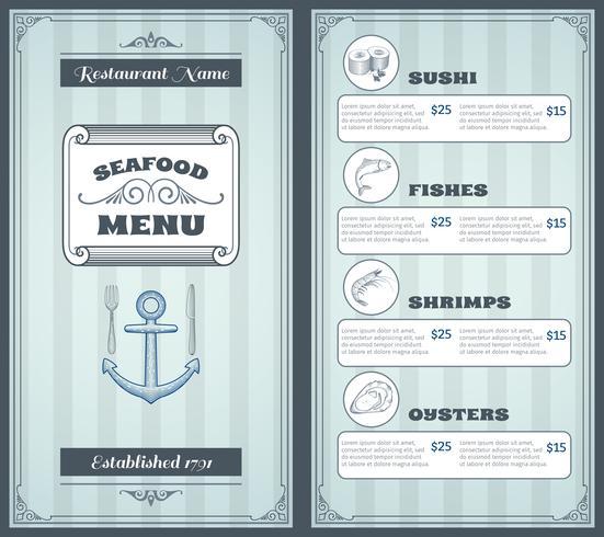 Progettazione di menu di pesce vettore