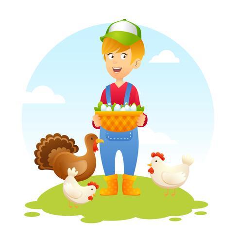 Donna contadina con pollo vettore