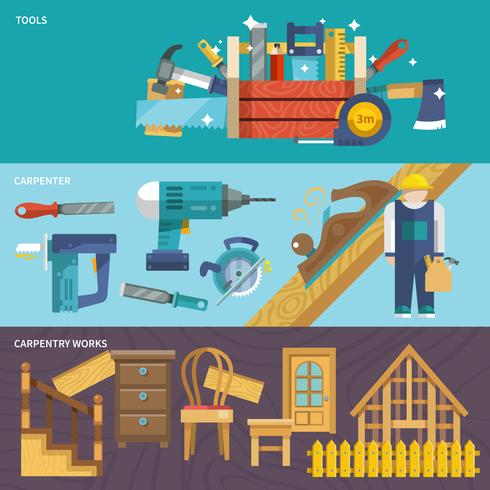 Set di banner di carpenteria vettore