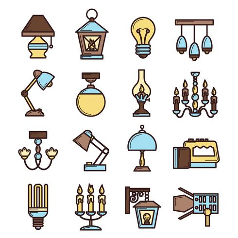 Set di icone di luce vettore