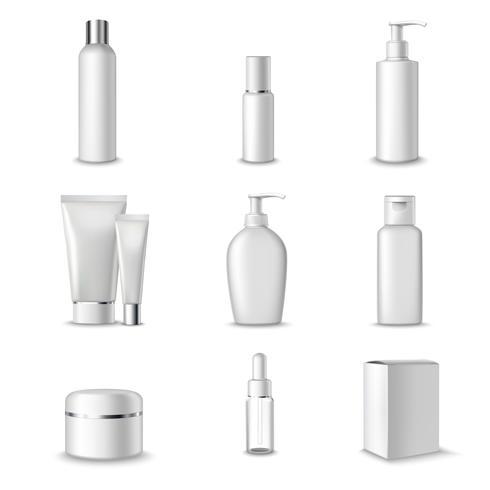 Set di pacchetti cosmetici vettore