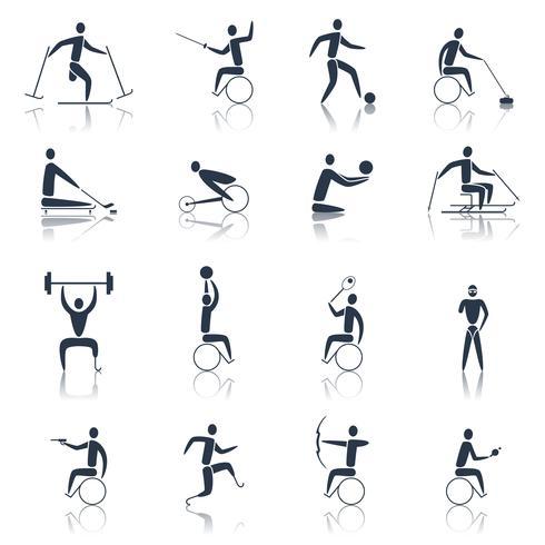 Icone di sport disabili nero vettore