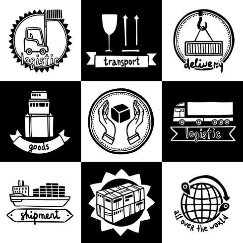 Set di emblemi logistici vettore