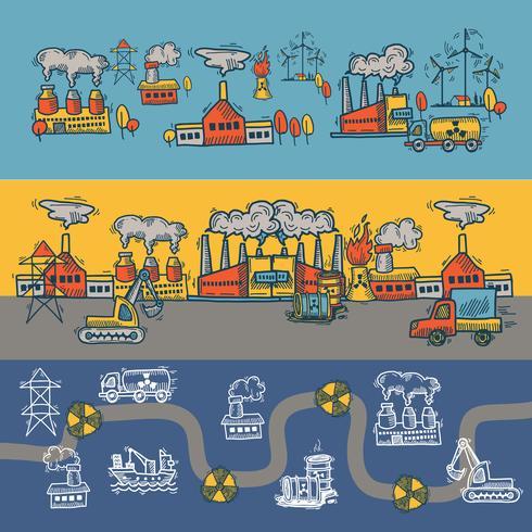 Disegno di banner schizzo industriale vettore