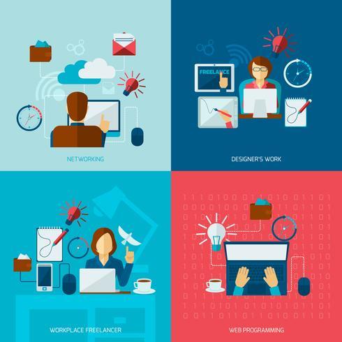 Set di piatti freelance vettore