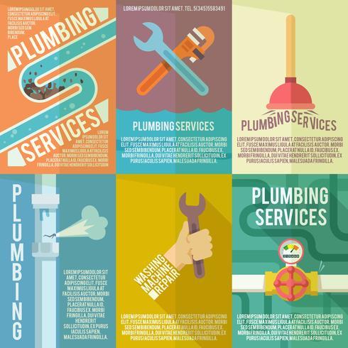 Poster di composizione di icone di impianto idraulico vettore