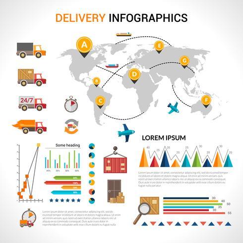 Consegna infografica piatta impostata vettore