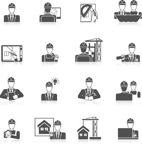 Set di icone di ingegnere vettore