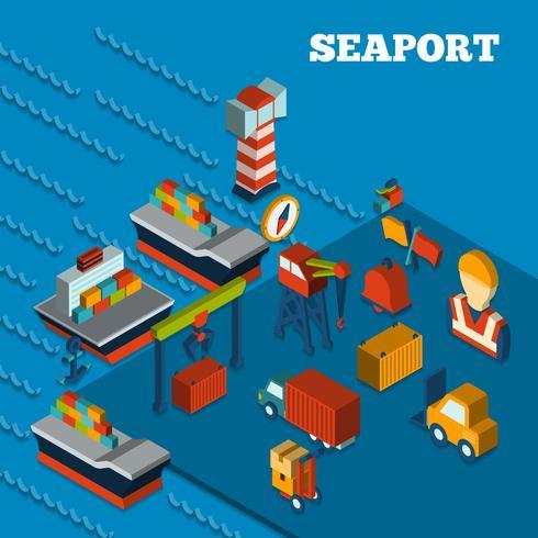 Set isometrico del porto marittimo vettore
