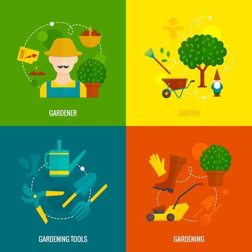 Composizione piana nelle icone del giardino vegetale vettore