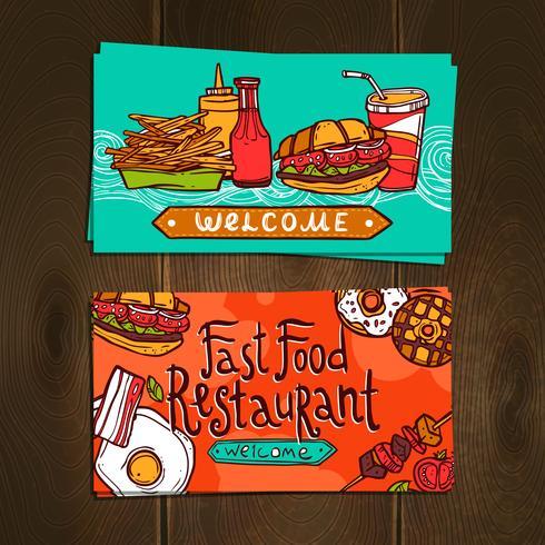 Carte di fast food vettore