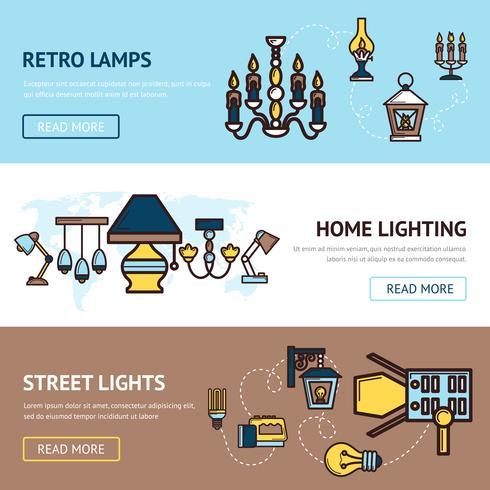 Set di banner luminosi vettore