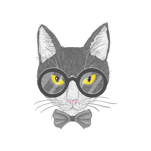 Gatto hipster con occhi gialli vettore