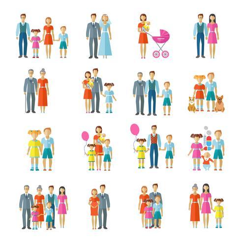 Icone della famiglia piatte vettore