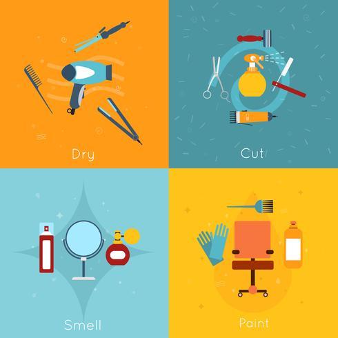 Set di icone di parrucchiere piatta vettore