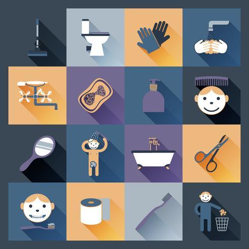 Icone di igiene piatte vettore