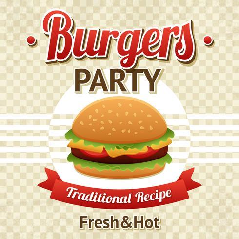 poster festa di hamburger vettore