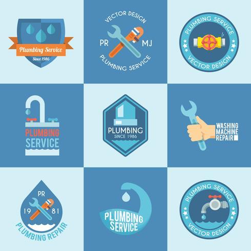 Set di icone di etichette idraulico vettore