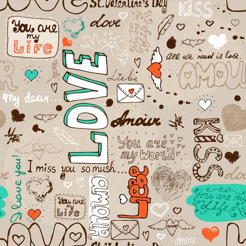 Modello di lettera di amore senza soluzione di continuità vettore