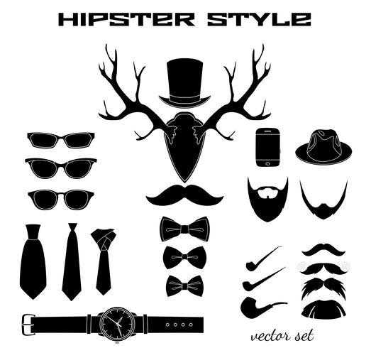 Collezione di pittogrammi accessori hipster vettore