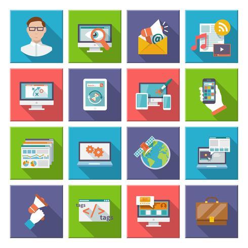 Icona piana di Seo Internet Marketing vettore