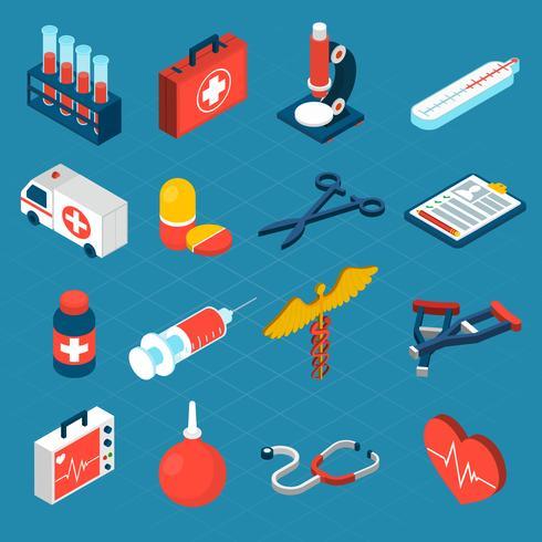 Icone isometriche mediche vettore