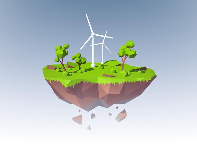 Ecologia Island Concept vettore