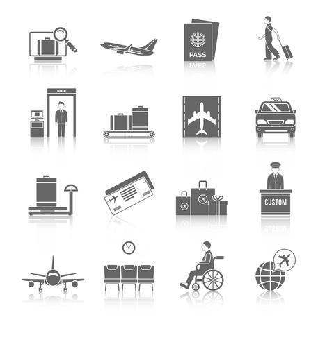 Set di icone di aeroporto vettore