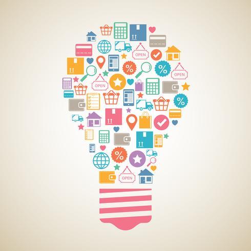 Internet shopping lampadina creativa vettore