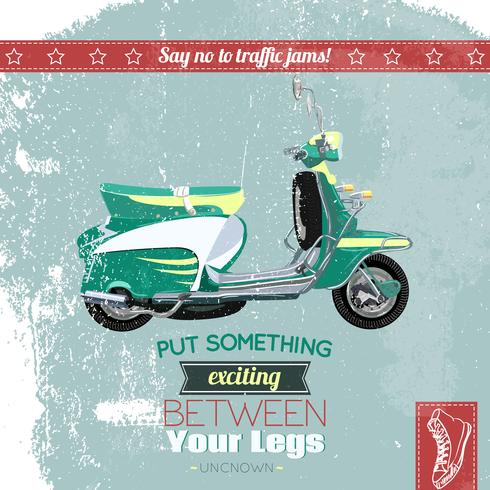 Poster di scooter hipster vettore