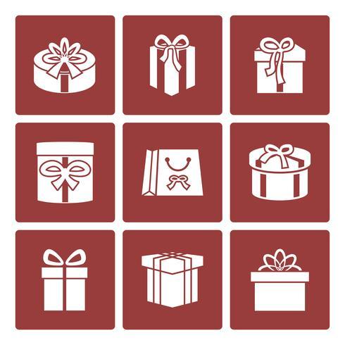 Icone di scatole presenti per il sito web di consegna online vettore