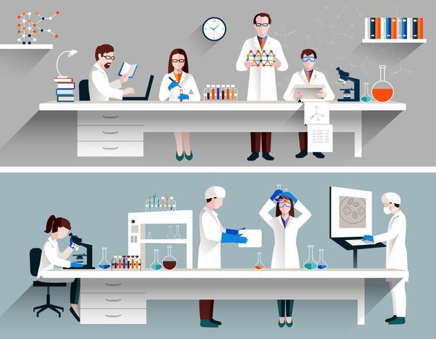 Scienziati nel concetto del laboratorio vettore