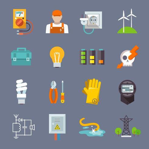 Icona di elettricità piatta vettore