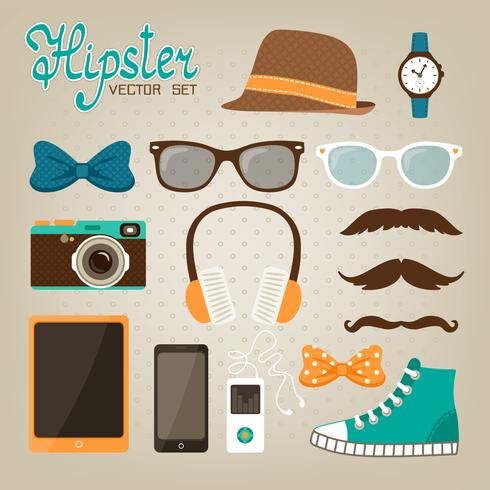 Set di icone di elementi hipster vettore